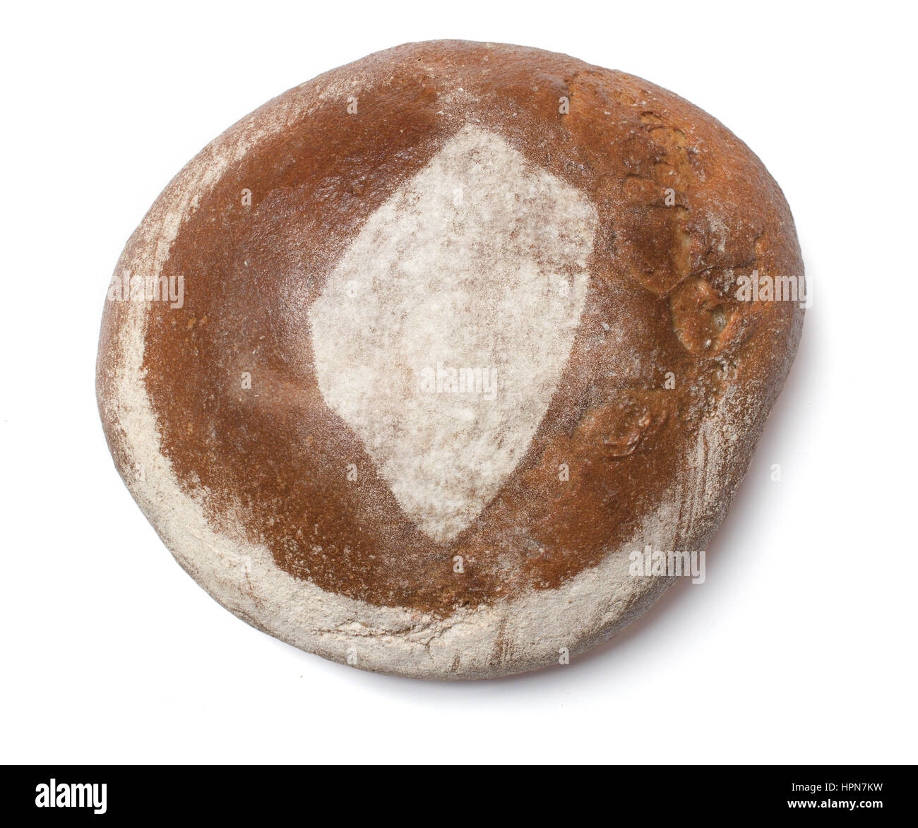 A freshly baked loaf of bread covered with rye flour in the shape of Swaziland.(series) Stock Photo