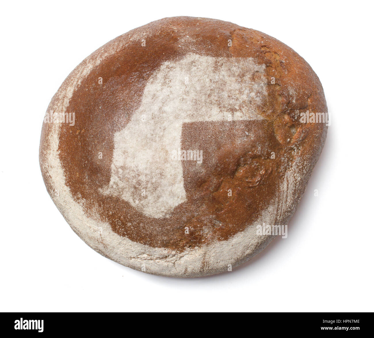 A freshly baked loaf of bread covered with rye flour in the shape of Western Sahara.(series) - Stock Image