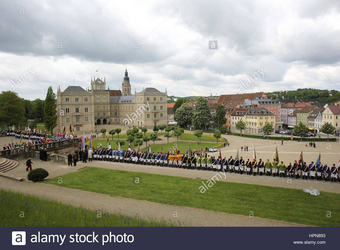 Participants in the Coburger Convent weekend, a Whitsunmeeting of students associations from Germany and beyond, - Stock Image