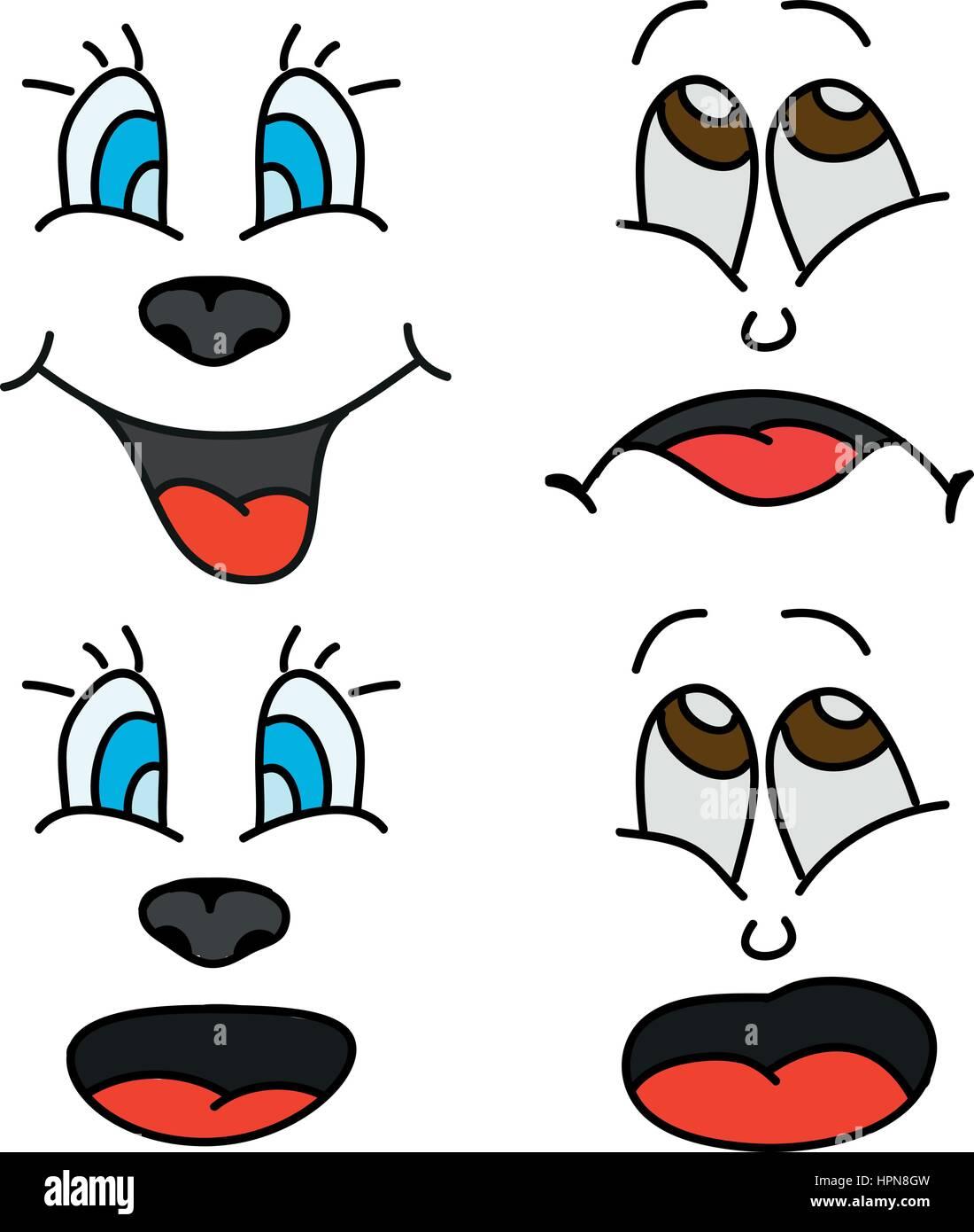 Four Facial cartoon expressions - Stock Image