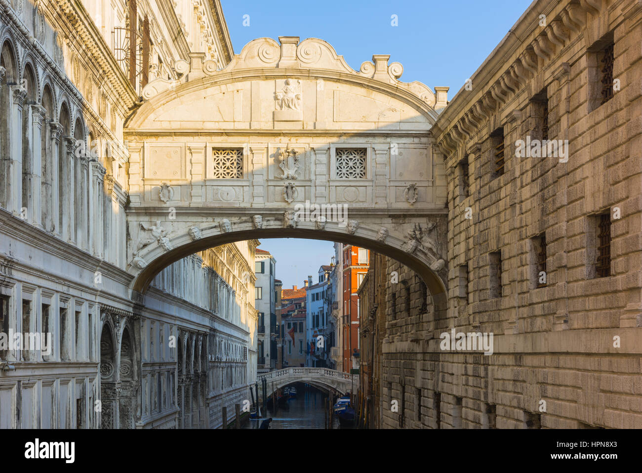 the ponte dei sospiri or bridge of sighs is a bridge that leads from the Prigioni Nuove to the doge's palace - Stock Image