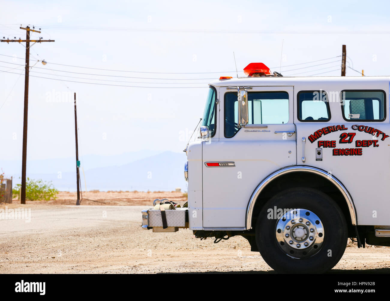 Bombay Beach, California, USA - May 26, 2015: Parked white fire engine of the Imperial County Fire Department. - Stock Image
