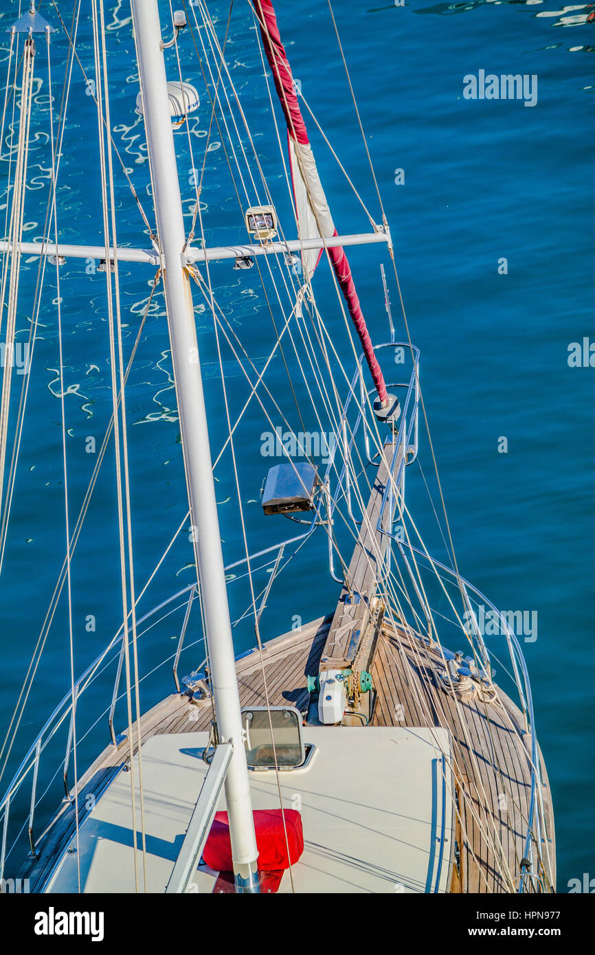 yachts elevated view, turkish yachts, wooden turkish boats, blue cruise, mavi tur, ahsap tekne - Stock Image