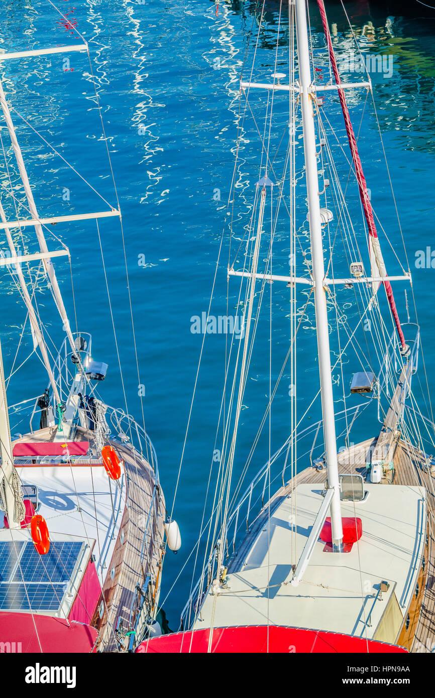 yachts elevated view, turkish yachts, wooden turkish boats, blue cruise, mavi tur, ahsap tekne - Stock Image