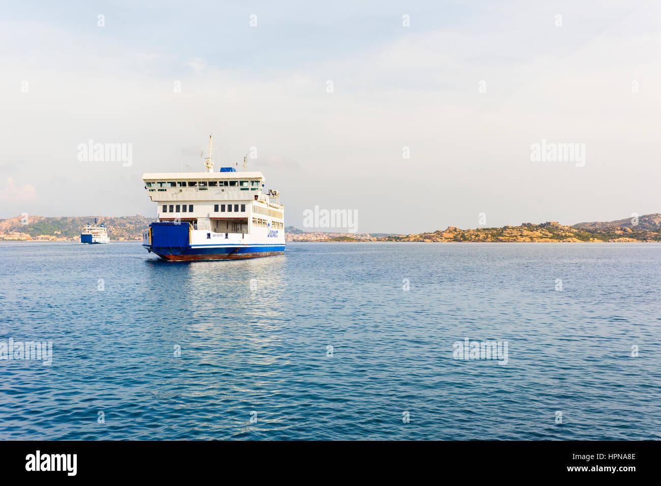Saremar ferry boat navigates from Palau, (northern Sardinia) to the island of La Maddalena, the main island of the Stock Photo