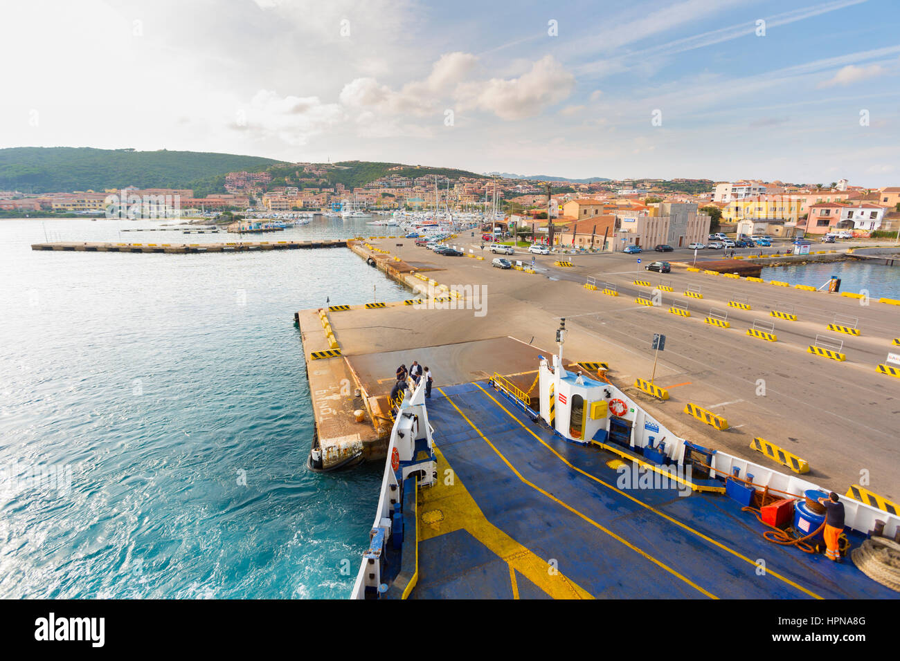 View The harbour of Palau from ferry boat, northern Sardinia,Italy - Stock Image