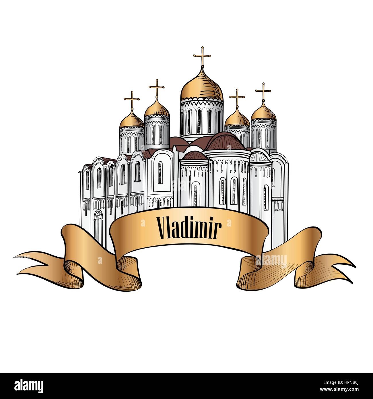 Dormition Cathedral in Vladimir. Ancient russian city symbol. Travel Russia icon. Hand drawn sketch cathedral. - Stock Image