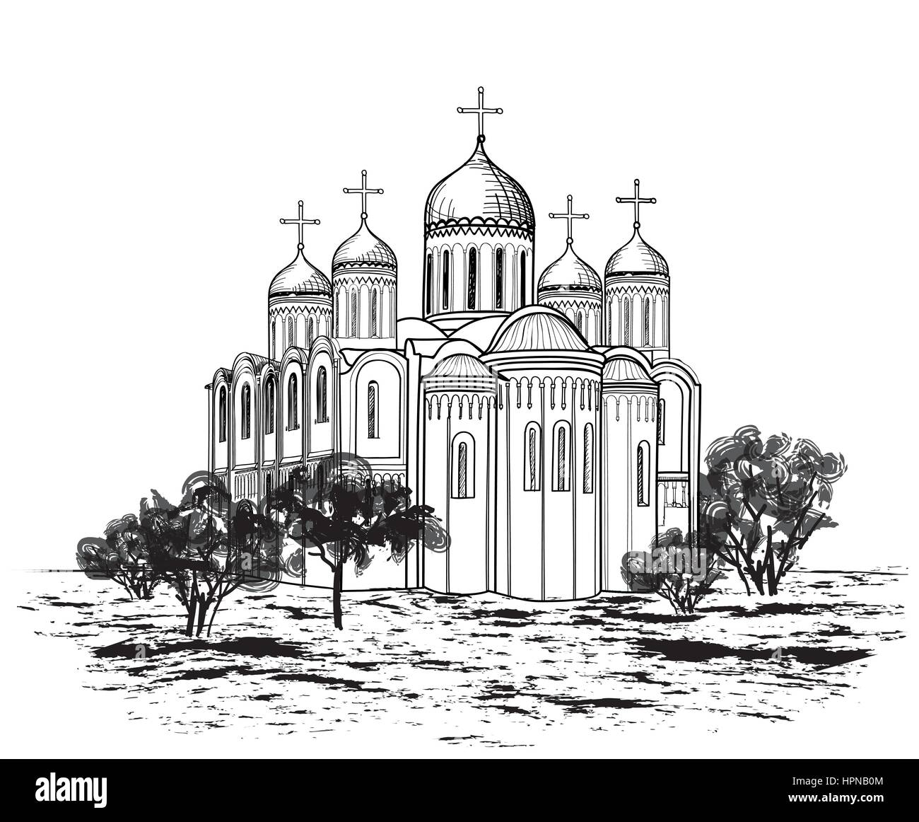 Famous place of Vladimir city view. Russian city landmark landscape. Travel Russia engraving outdoor background. - Stock Vector