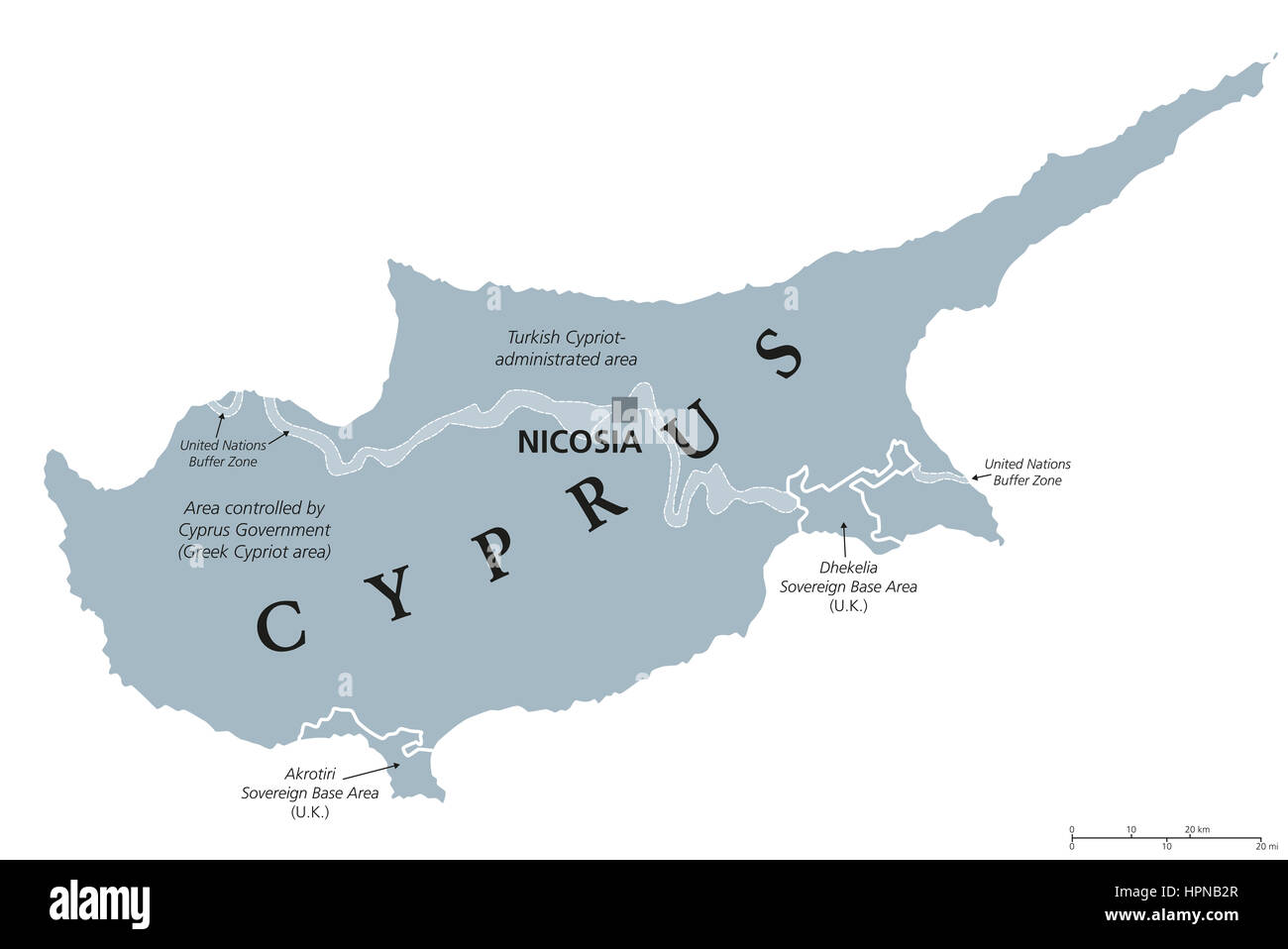 Mediterranean Political Map.Cyprus Political Map With Capital Nicosia Republic And Island Stock