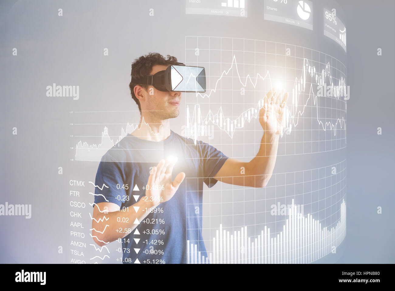 Person wearing virtual reality (VR) headset or head-mounted display (HMD) glasses to interact with financial dashboard - Stock Image