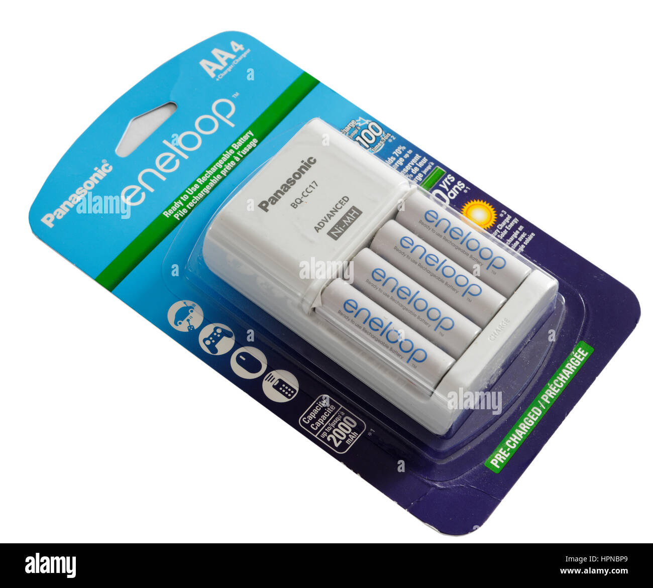 Panasonic Eneloop rechargeable batteries - Stock Image
