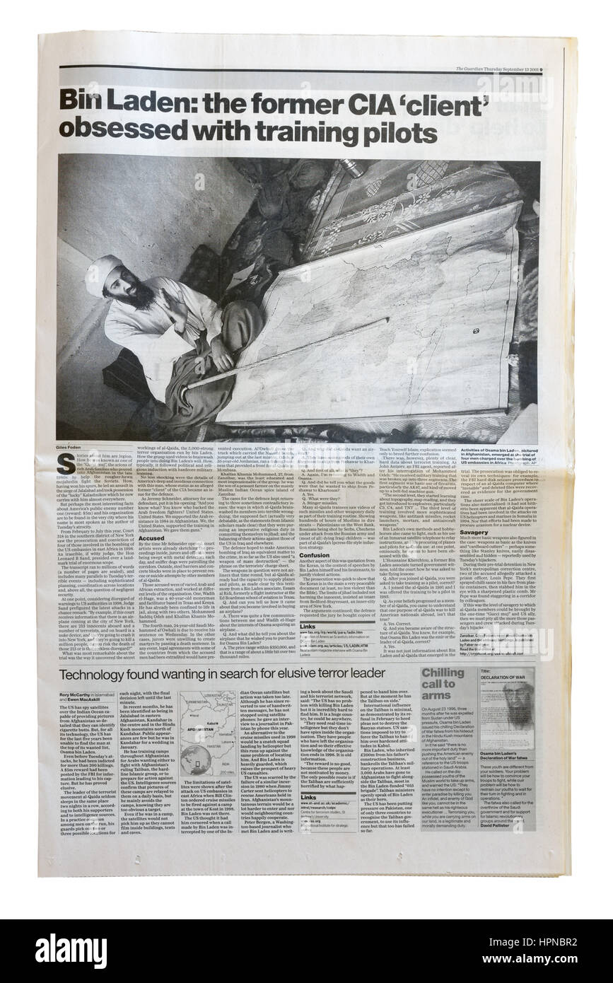 An article from The Guardian on Osama Bin Laden after the September 11th attacks on New York City - Stock Image