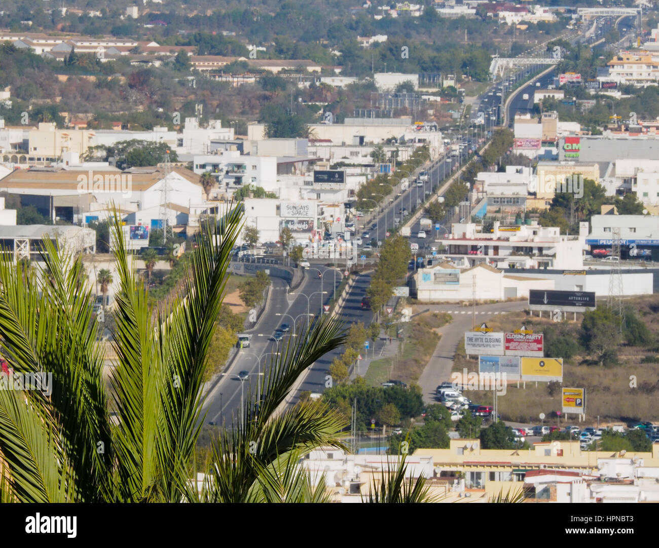 AERIEL ELEVATED VIEW LOOKING INLAND FROM  IBIZA TOWN - Stock Image