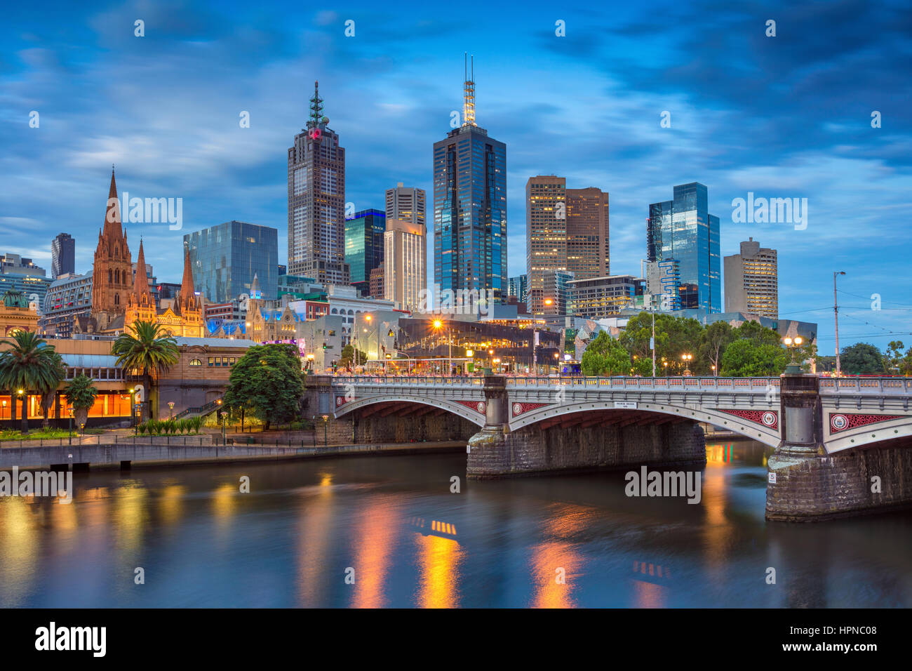 City of Melbourne. Cityscape image of Melbourne, Australia during twilight blue hour. - Stock Image