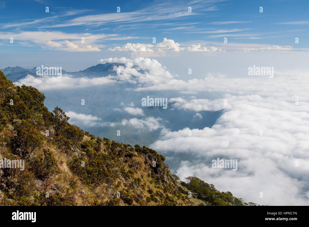 Mountain landscape with cloud cover surrounding the active volcano of Gunung Sindoro and the Dieng Plateau.  Mount - Stock Image