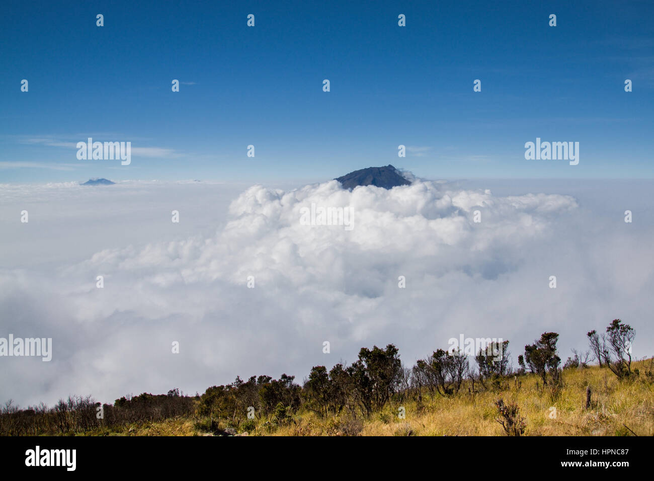 Cloud cover surrounding the volcano of Gunung Sumbing and the mountain landscape surrounding Gunung Sindoro - Stock Image