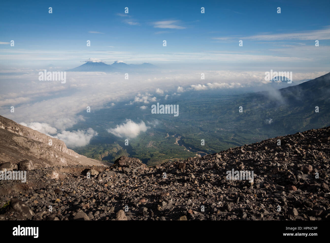 Stunning volcanic landscape viewed from Mount Merapi (Gunung Merapi) a high altitude volcano with a summit at 2,930 - Stock Image