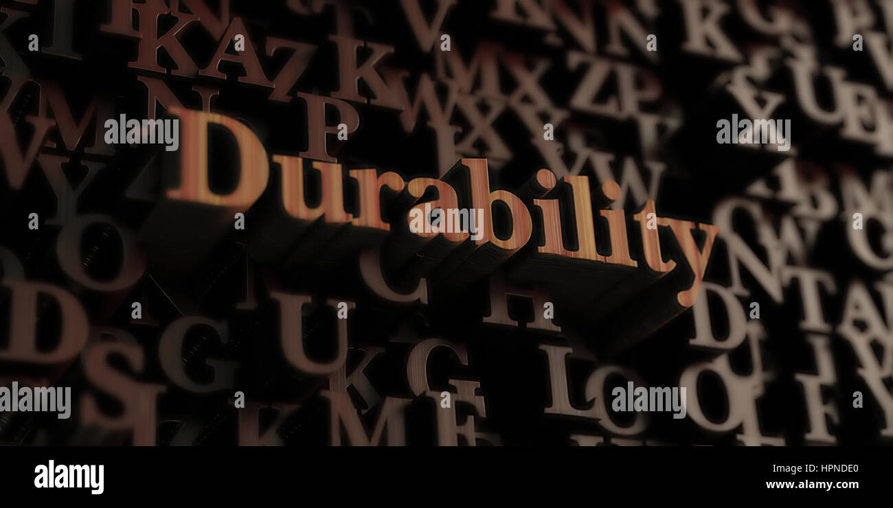 Durability - Wooden 3D rendered letters/message.  Can be used for an online banner ad or a print postcard. - Stock Image