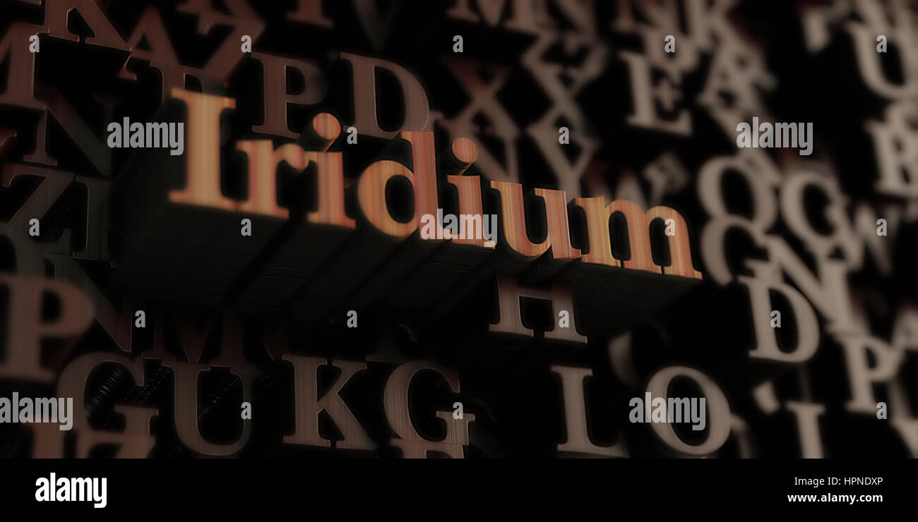 Iridium - Wooden 3D rendered letters/message.  Can be used for an online banner ad or a print postcard. Stock Photo