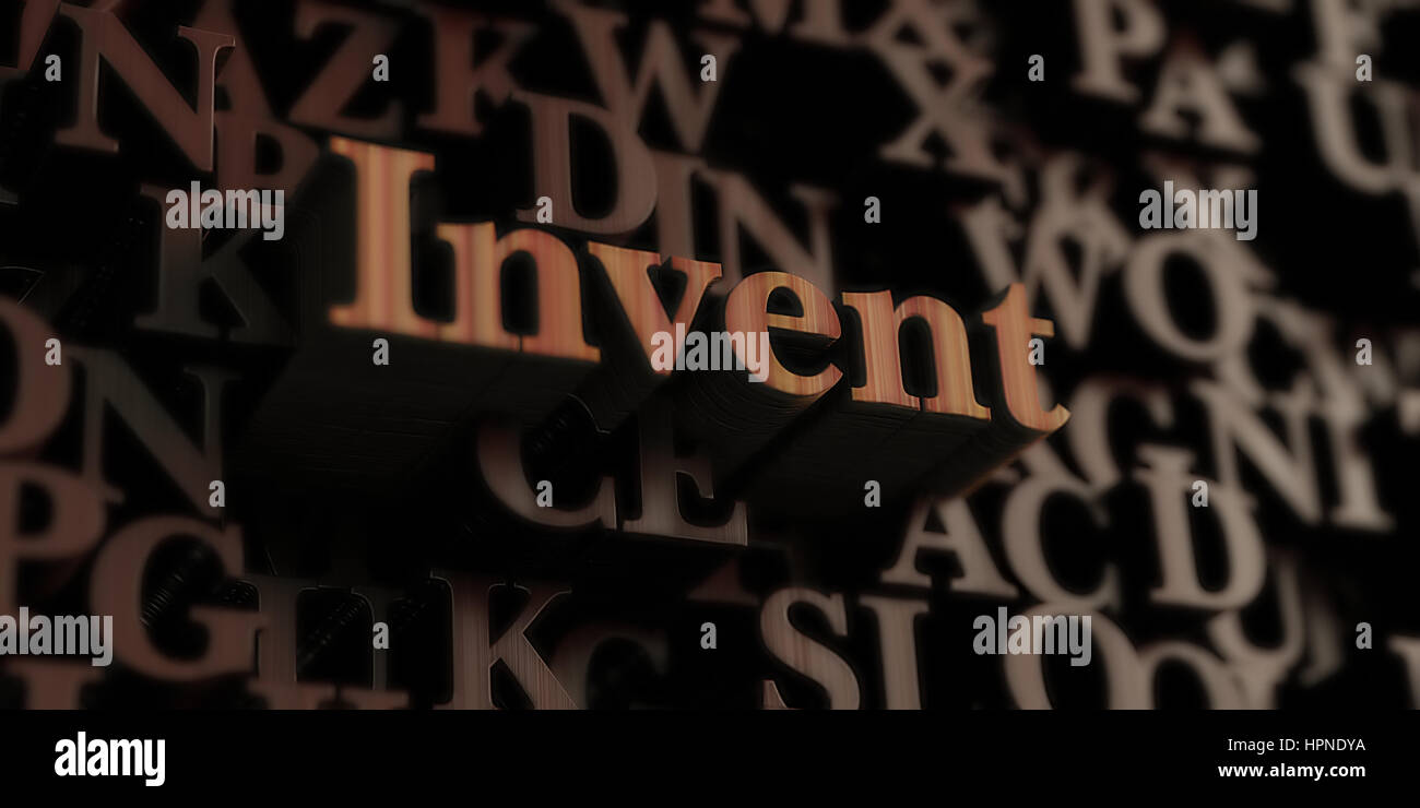Invent - Wooden 3D rendered letters/message.  Can be used for an online banner ad or a print postcard. - Stock Image