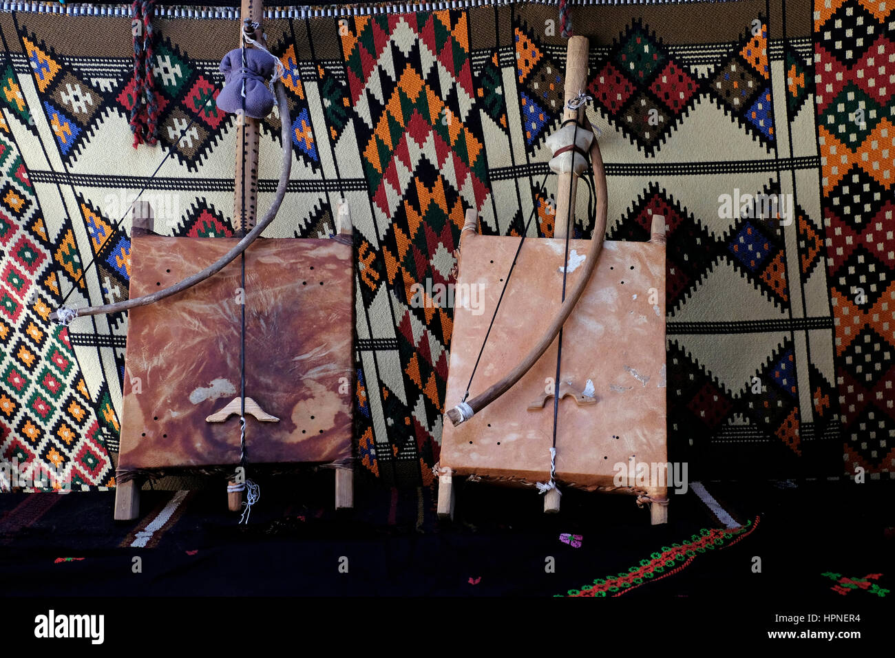 Traditional fiddle Bedouin Rababa, One horse tail string musical instrument - Stock Image
