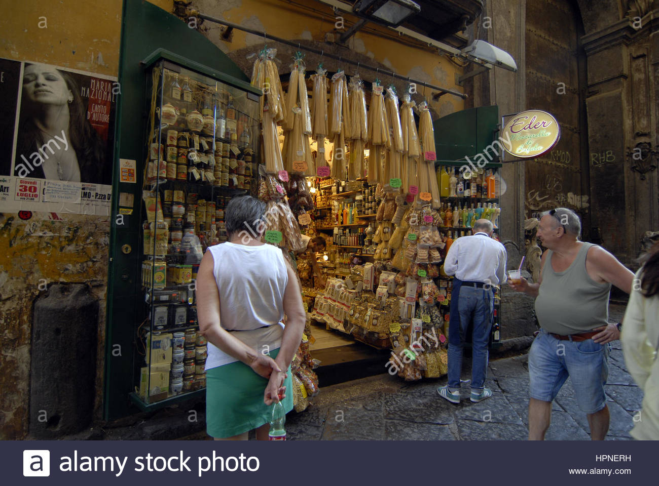 shop of gastronomic typical products,napoli - Stock Image