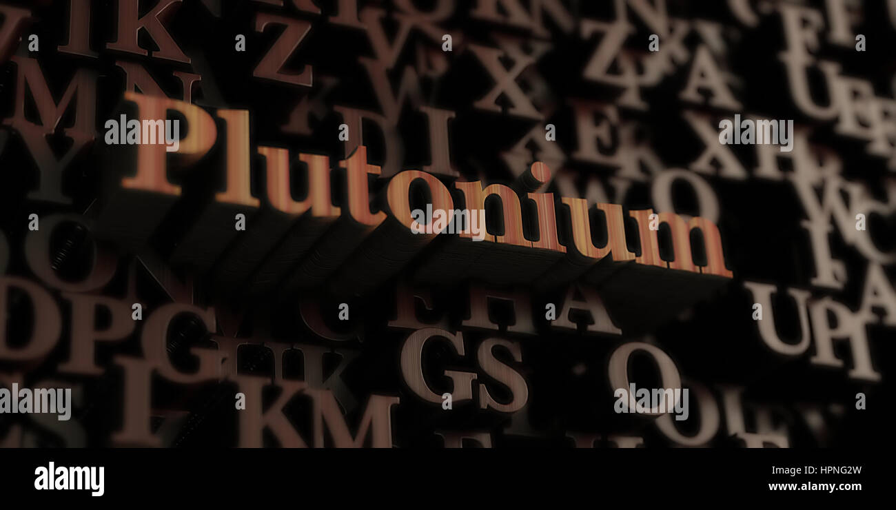 Plutonium - Wooden 3D rendered letters/message.  Can be used for an online banner ad or a print postcard. - Stock Image