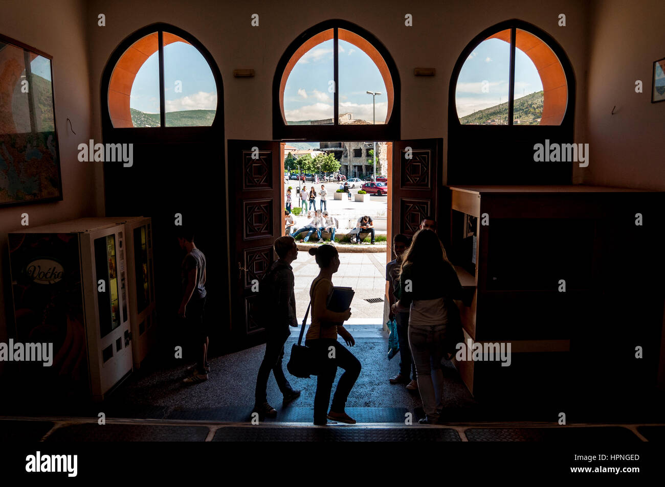 Mostar secondary school entrance, Bosnia Herzegovina - Stock Image