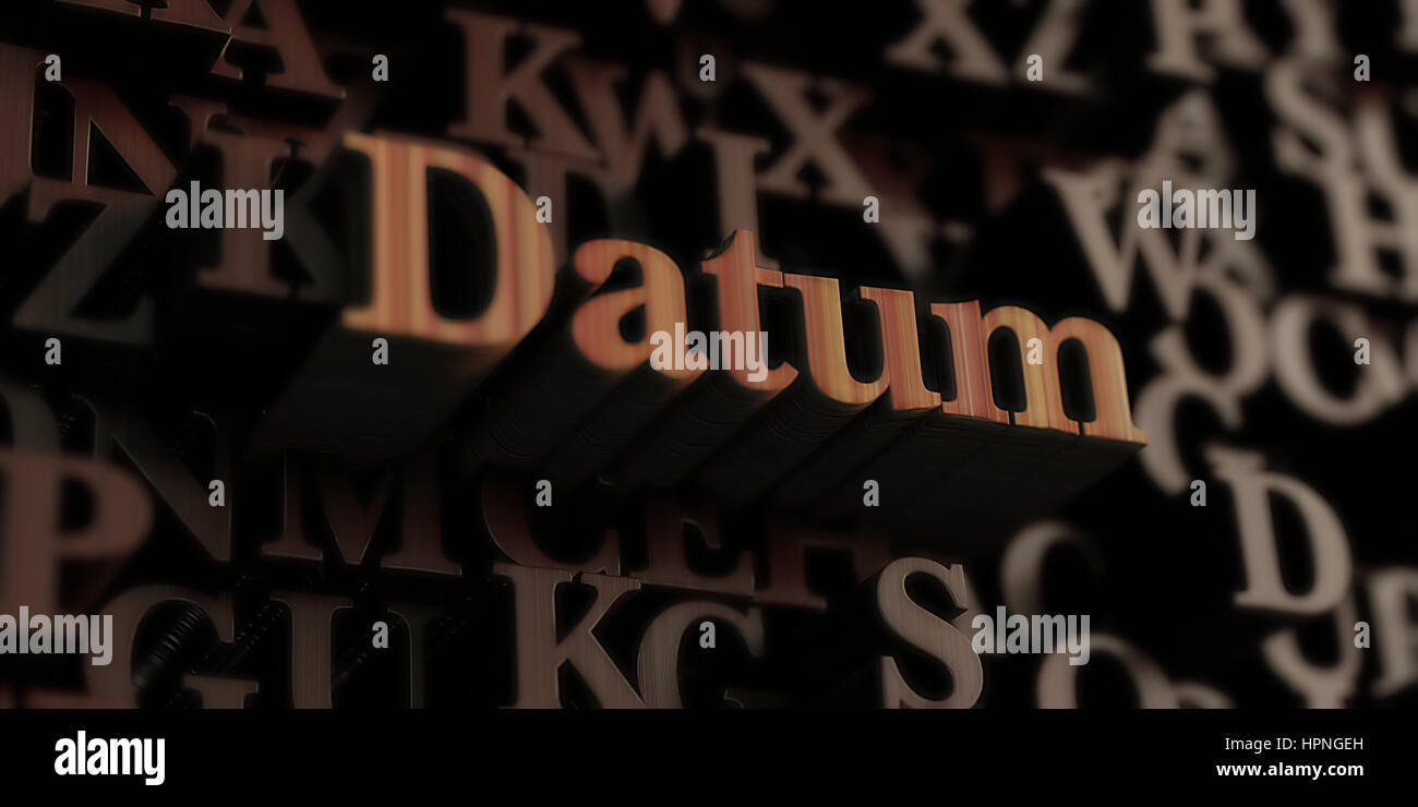 datum - Wooden 3D rendered letters/message.  Can be used for an online banner ad or a print postcard. - Stock Image