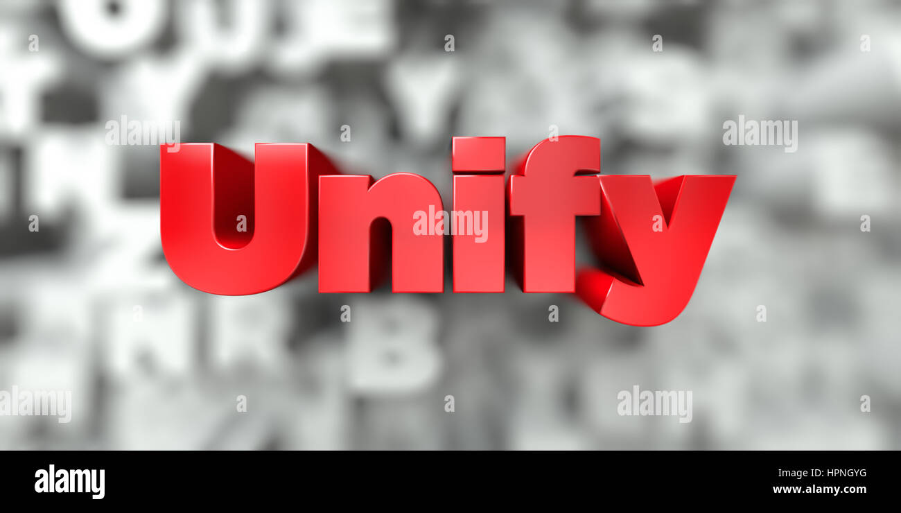 Unify -  Red text on typography background - 3D rendered royalty free stock image. This image can be used for an - Stock Image