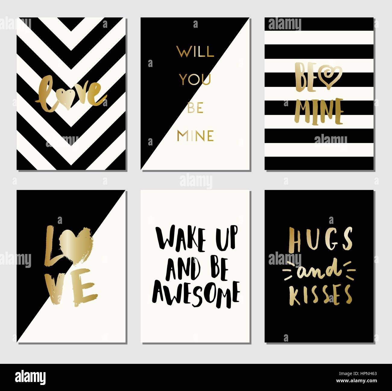 a set of 6 modern and stylish greeting card templates in black