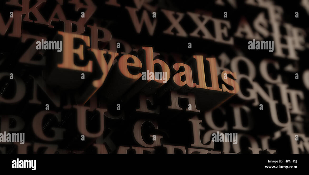 Eyeballs - Wooden 3D rendered letters/message.  Can be used for an online banner ad or a print postcard. - Stock Image
