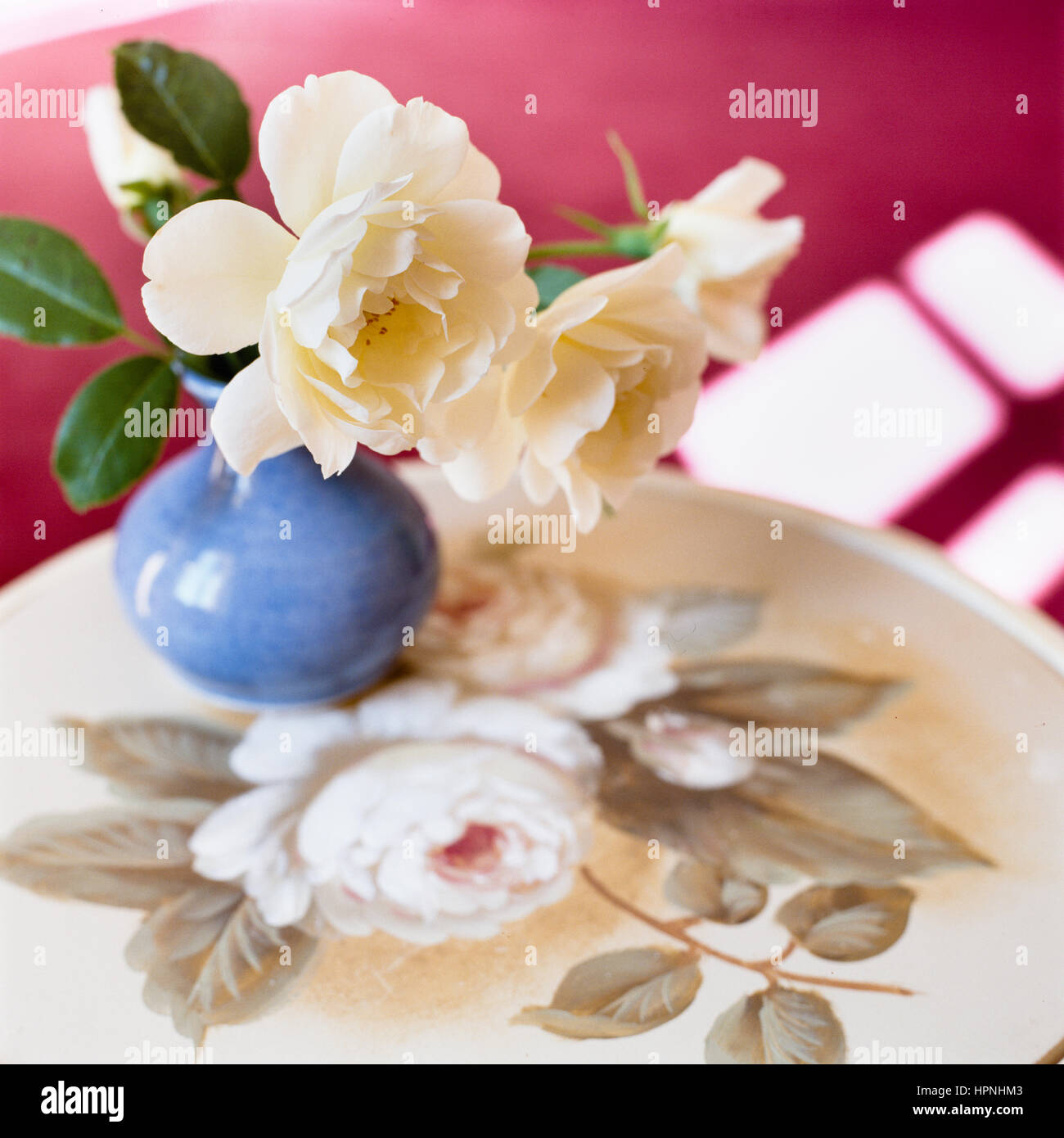 A vase of flowers on a plate. - Stock Image