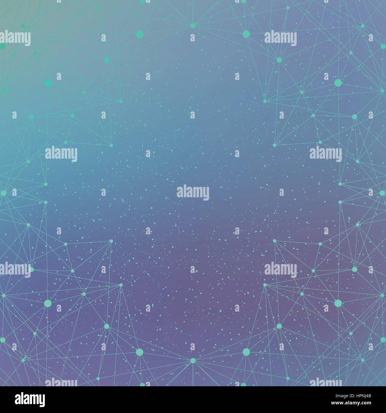 Geometric background molecule and communication for your design. Connected lines with dots .Vector illustration - Stock Vector