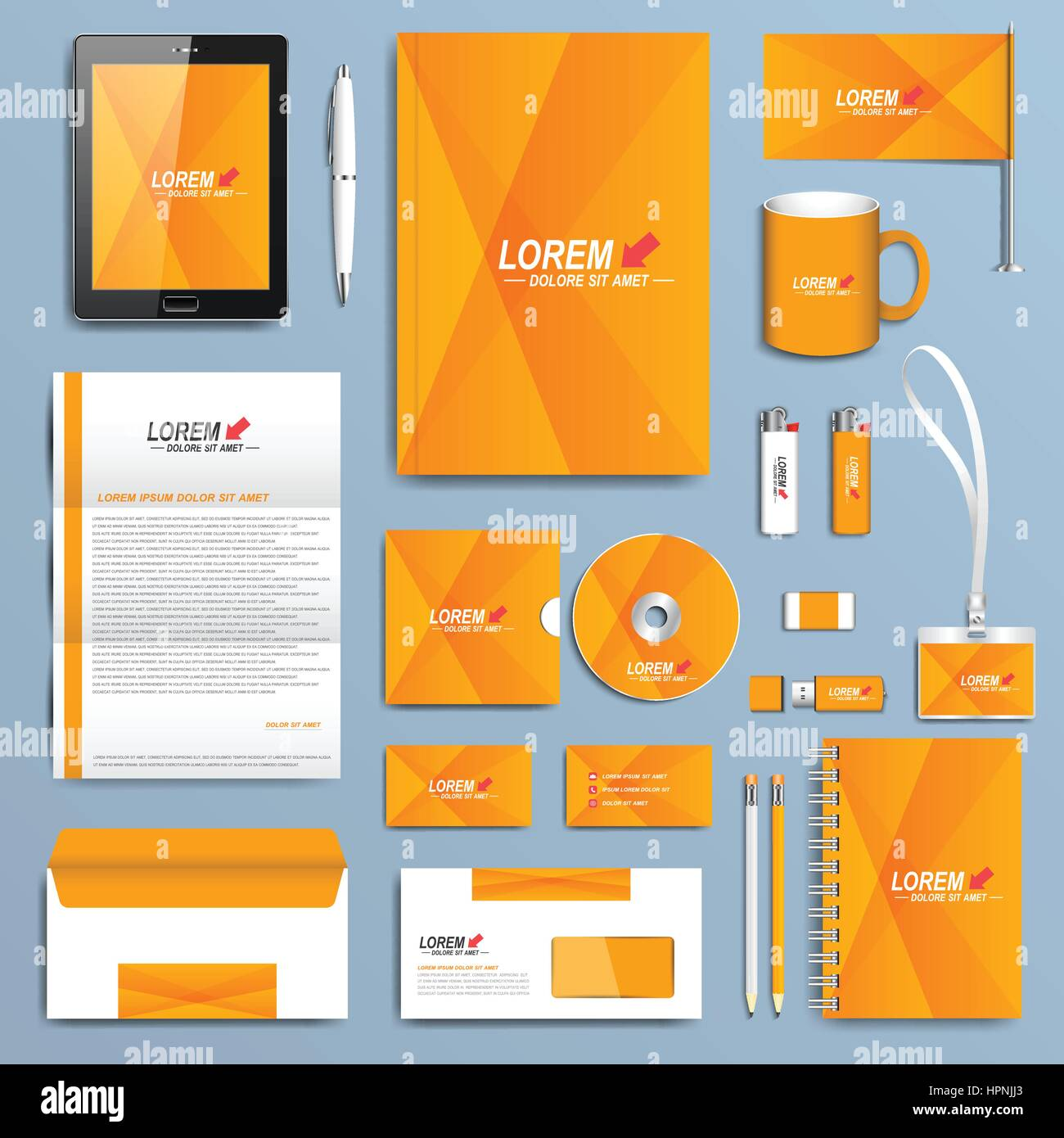 Yellow set of vector corporate identity templates modern business yellow set of vector corporate identity templates modern business stationery design accmission Images