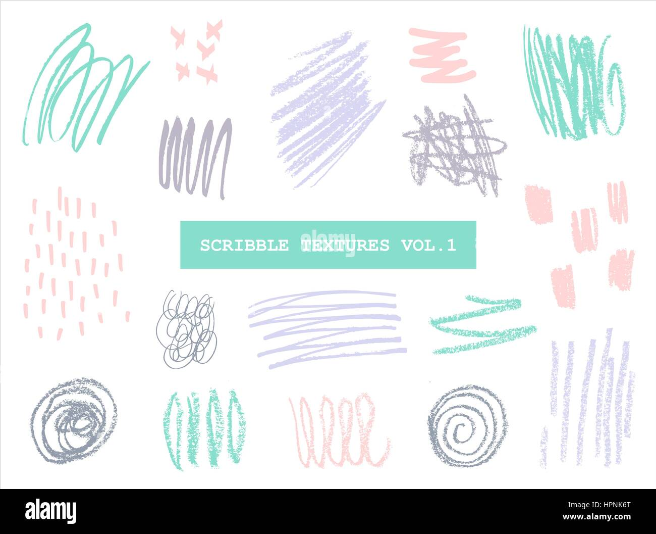 A set of hand drawn scribble textures in pastel colors isolated on white background. - Stock Image