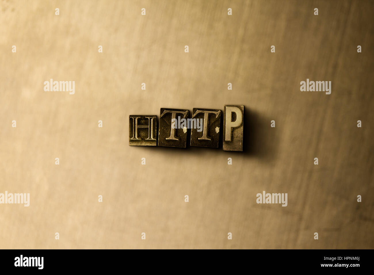 HTTP - close-up of grungy vintage typeset word on metal backdrop. Royalty free stock illustration.  Can be used - Stock Image