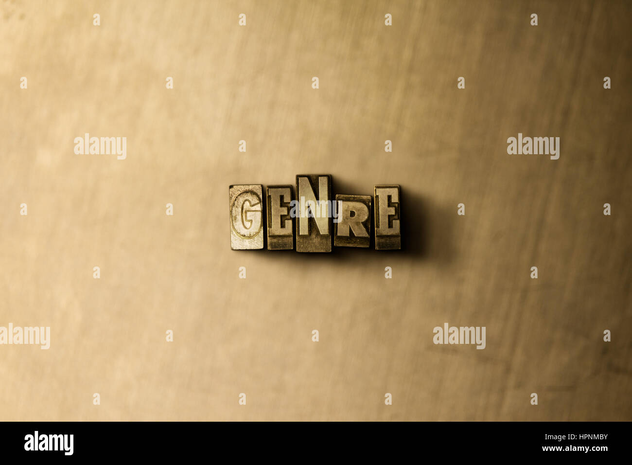 GENRE - close-up of grungy vintage typeset word on metal backdrop. Royalty free stock illustration.  Can be used - Stock Image