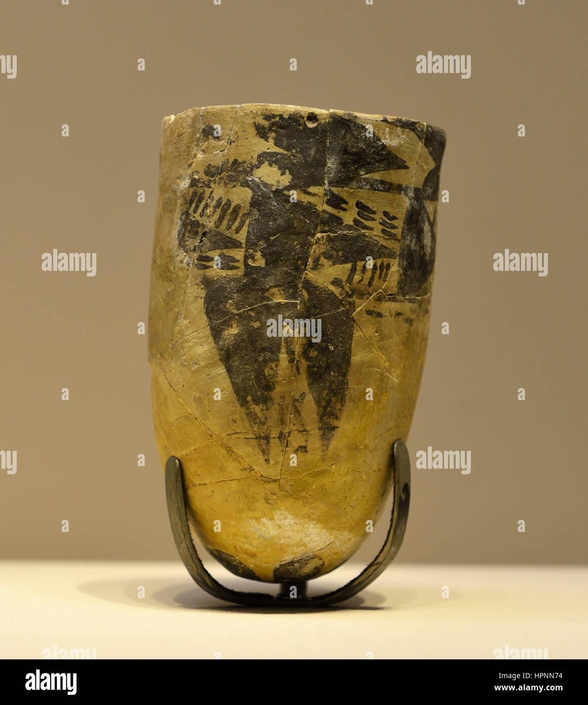 Beaker. Khursaniyah. Ubaid III, around 5300-4700 BCE. Painted earthenware. National Museum, Riyadh. - Stock Image