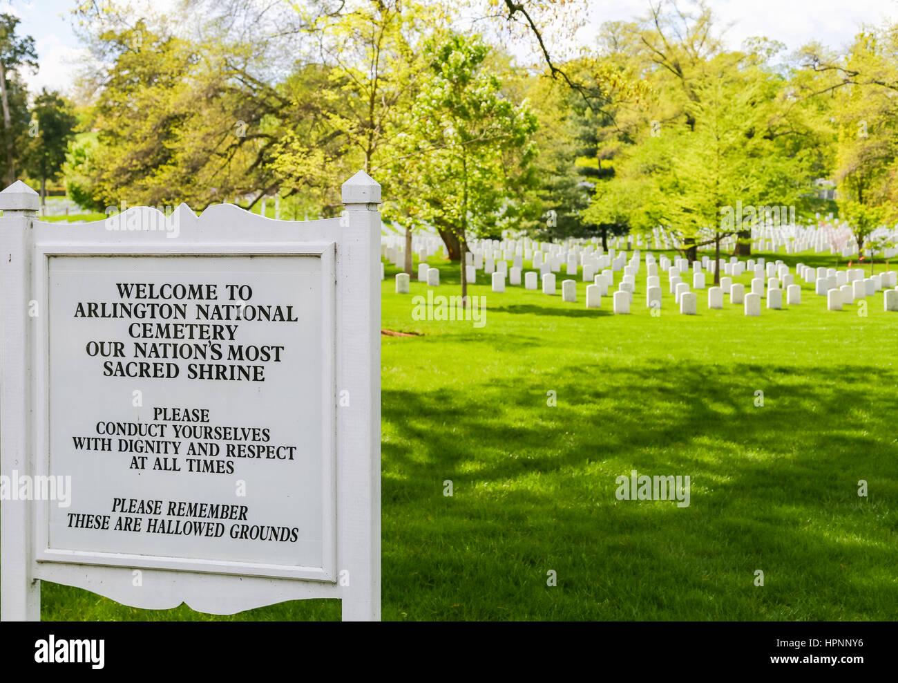 Arlington, USA - May 2, 2015: Sign with behavioral code near the entrance of Arlington National Cemetery. - Stock Image