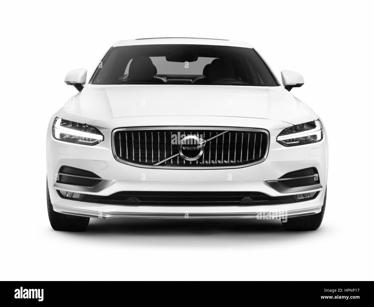 white 2017 volvo s90 t6 awd luxury car front view isolated on white stock photo 134473283 alamy. Black Bedroom Furniture Sets. Home Design Ideas