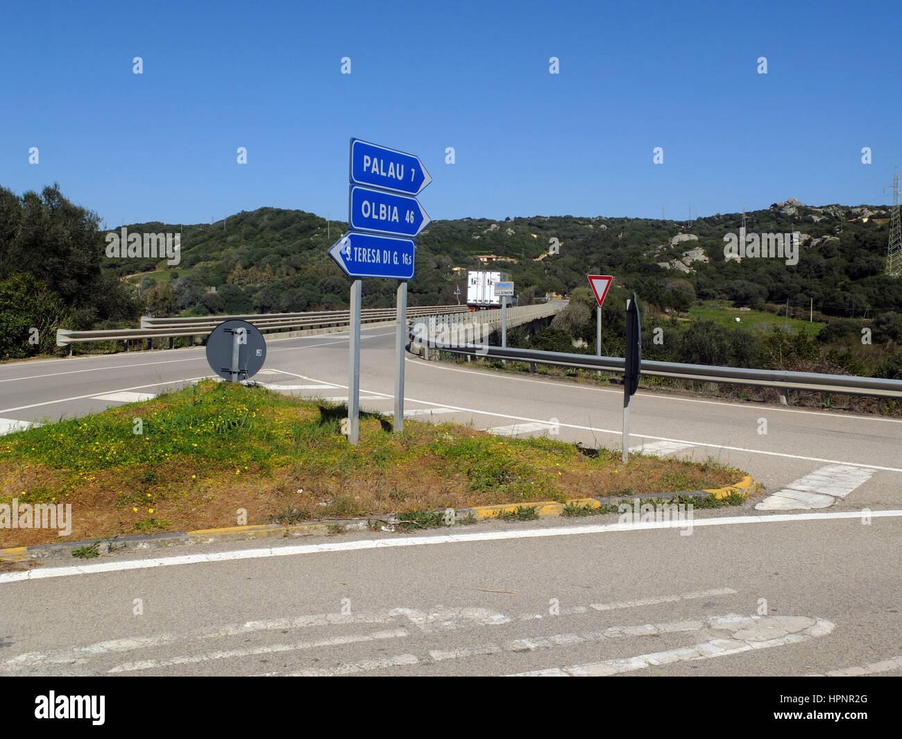 Crossroads in northern Sardinia - Stock Image