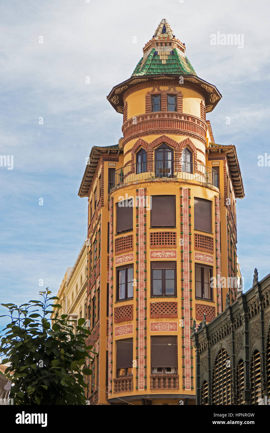Malaga, Costa del Sol, Malaga Province, Andalusia, southern Spain. The Aguinaga building at Calle Sagasta 5, in - Stock Image