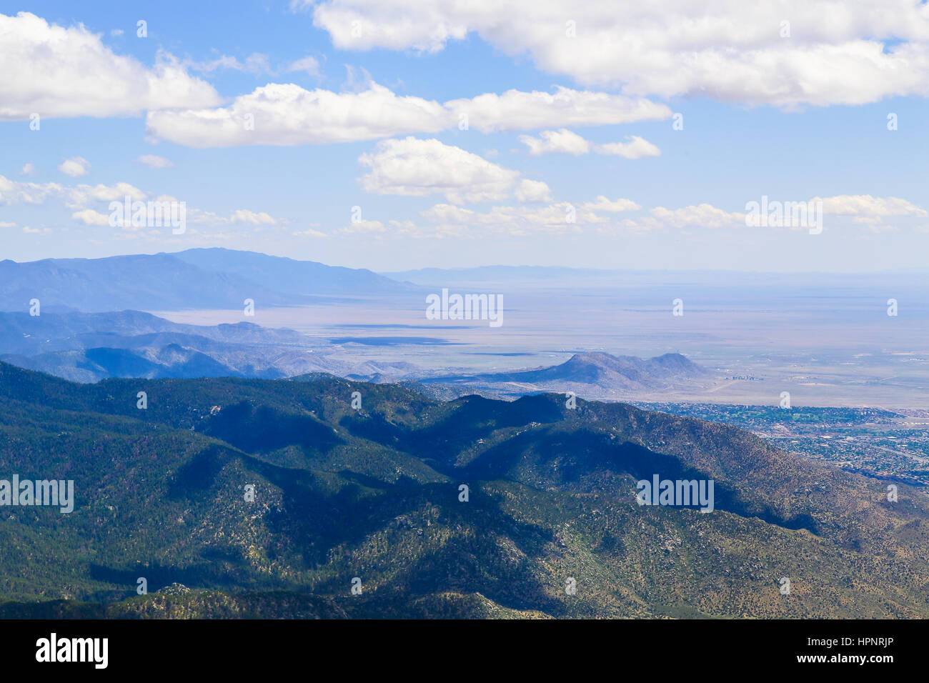 View over the Sandia Mountains and part of Albuquerque, USA, from Sandia Crest. Stock Photo