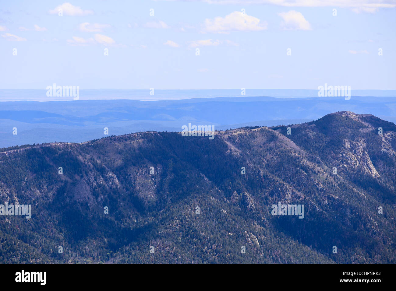 Ridge in the Sandia Mountains near Albuquerque, USA, seen from Sandia Crest. Stock Photo