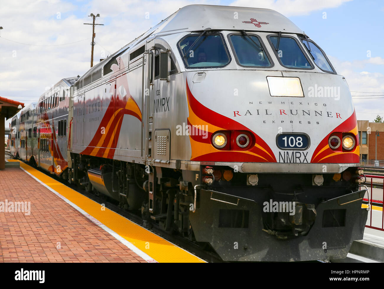 albuquerque usa may 24 2015 engine and bilevel cars of the new