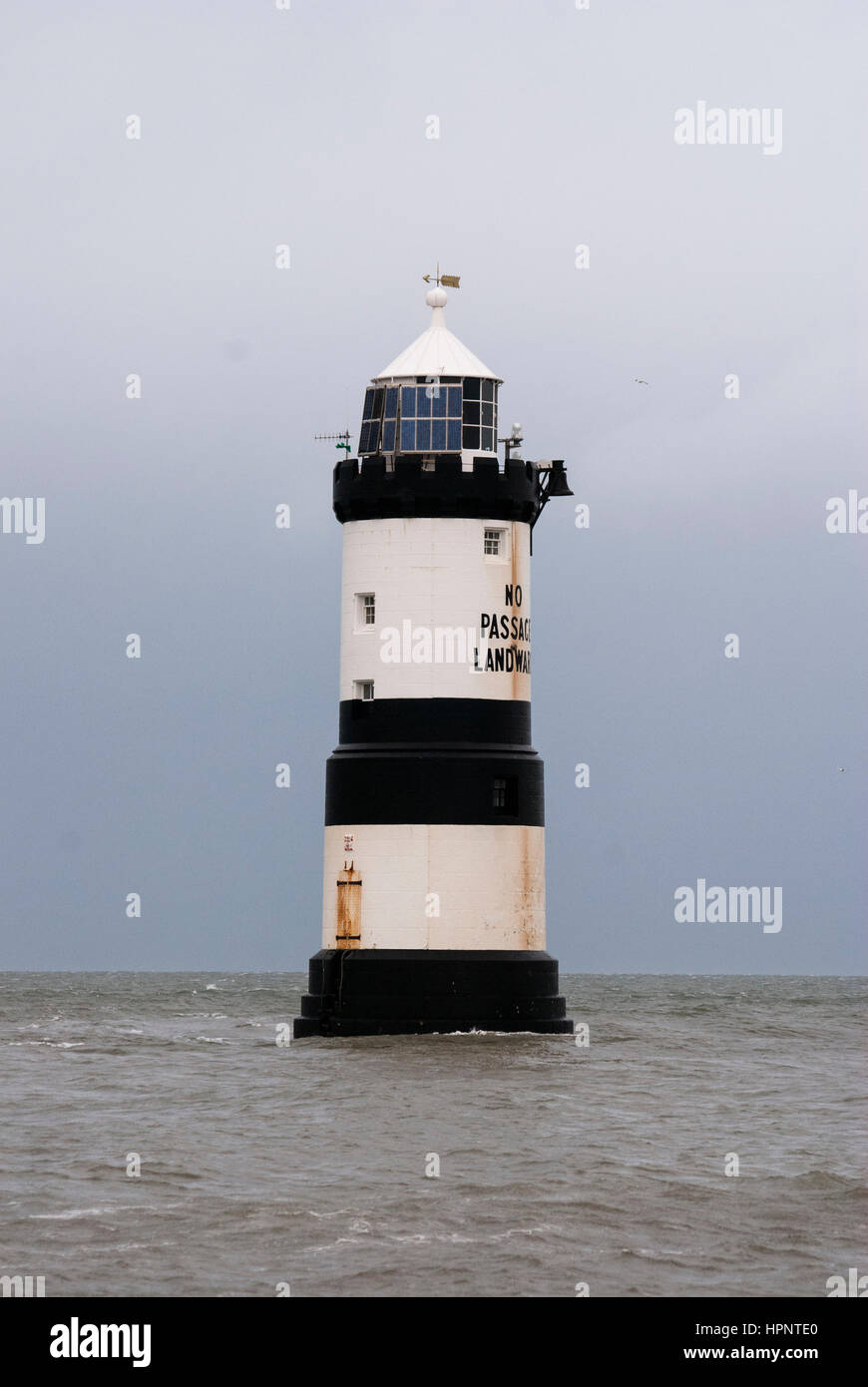 Trwyn Du lighthouse/ Penmon Lighthouse on Anglesey, North Wales Stock Photo