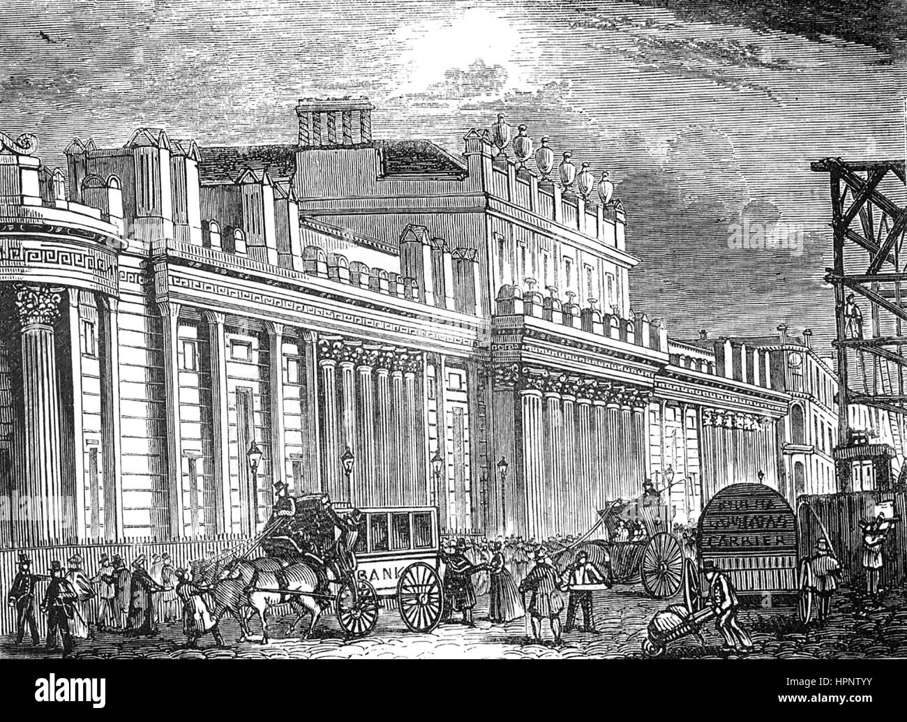 BANK OF ENGLAND building in Threadneedle Street about 1830, designed by Sir John Sloane - Stock Image