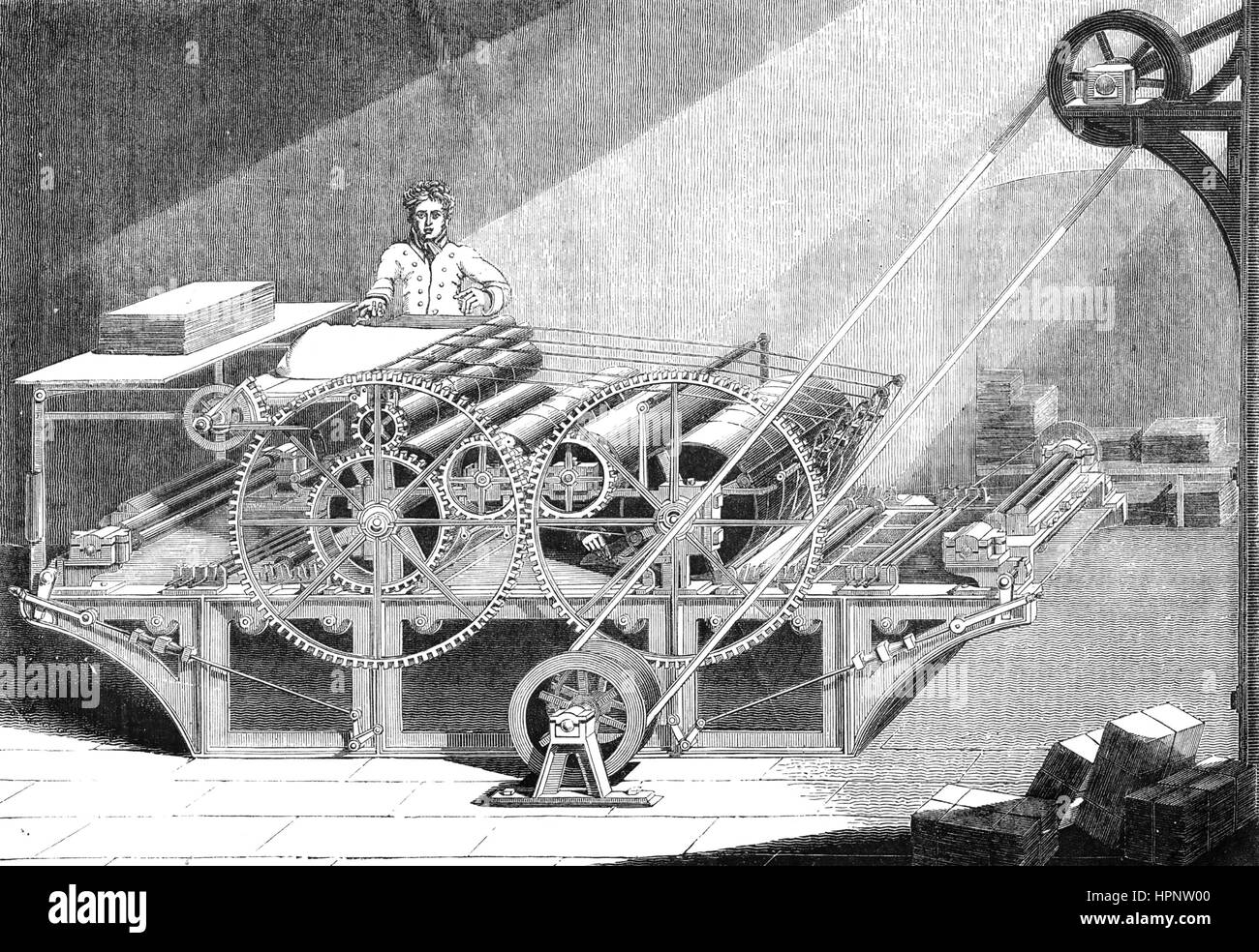 ENGLISH STEAM POWERED PRINTING MACHINE about 1850 - Stock Image