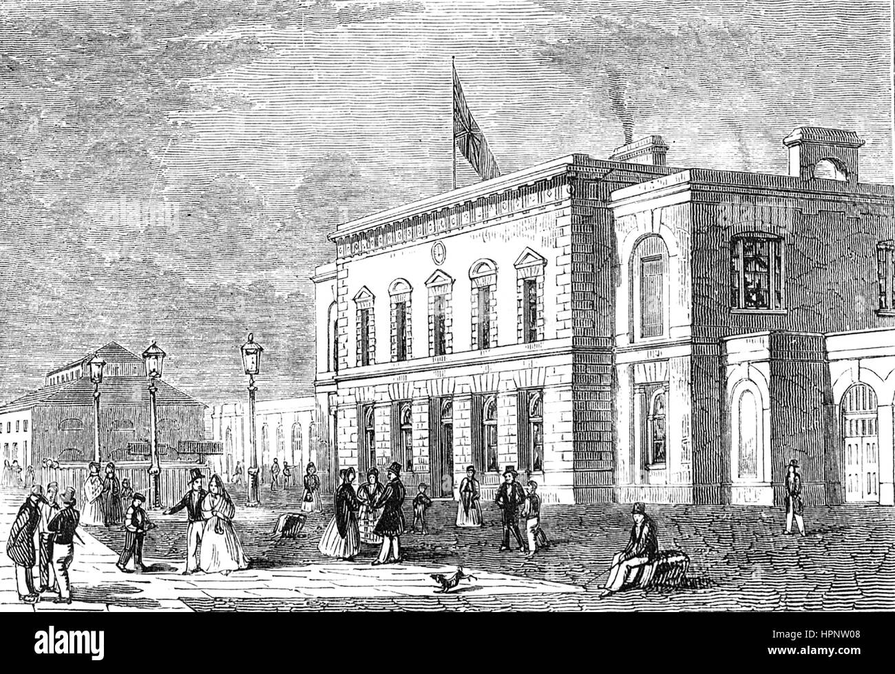 BLACKWALL RAILWAY STATION, London,  in 1858. Designed by William Tite it opened in 1840 - Stock Image
